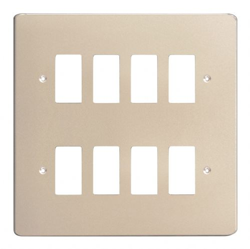Varilight XDNPG8 PowerGrid Satin Chrome 8-Gang Grid Plate (Double Twin Plate)